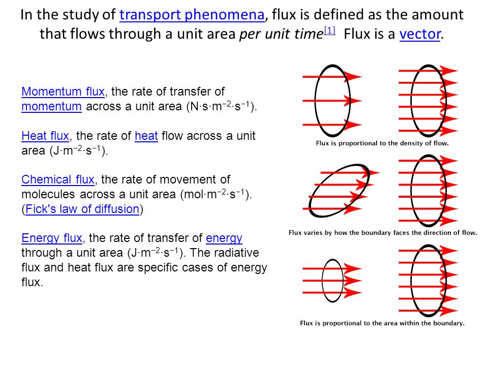 In the study of transport phenomena, flux is defined as the amount that flows through a unit area per unit time[1] Flux is a vector.